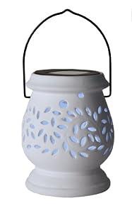 Best Season LED-Solar-Laterne Clay Lantern / 1 cool light LED / mit Solarpanel, inklusiv Akku / outdoor / weiß 477-46
