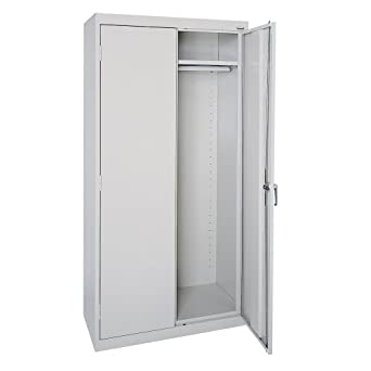 "Sandusky Lee CAW1362472-05 Dove Gray Steel Powder-Coated Classic Wardrobe Cabinet with Adjustable Shelf, 72"" Height x 36"" Width x 24"" Depth"