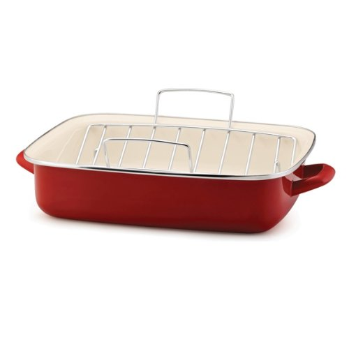 Rachael Ray Enamel on Steel 16-1/2-Inch Roaster with V-Shape Rack, Red