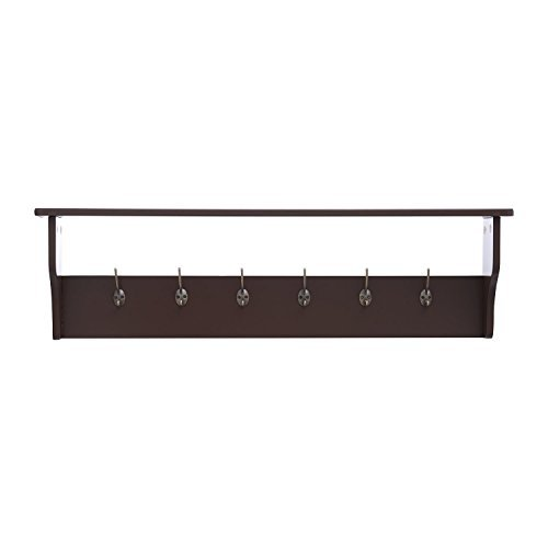 "HomCom 42"" 6 Hook Hanging Entryway Shelf - Coffee"