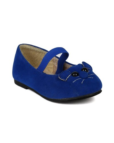 Jelly Beans Minoro Suede Mouse Decor Mary Jane Furry Ballet Flat (Toddler) - Blue (Size: Toddler 8)