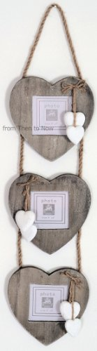Chic & Shabby Triple Wooden Hanging Heart Photo