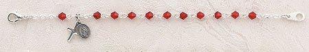 Ruby July Tin Cut Birthstone Baby 4MM Rosary Bracelet 5