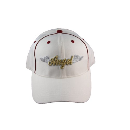 White cap with Gold color Patched Angel design with wings