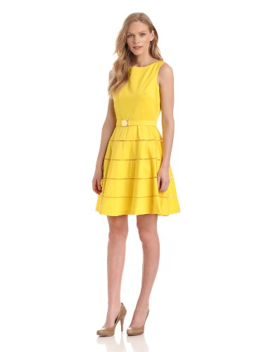 Eliza J Women's Sleeveless Boatneck Dress with Belt, Yellow, 8