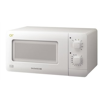 Daewoo Compact Manual Microwave / Capacity: 14Ltr - Colour: White - Model: QT1 / Manually controlled domestic microwave oven with a capacity of 14 litres and 35 minute timer.