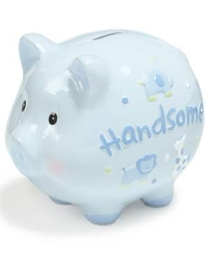 "First Impression "" Adorable"" Piggy Bank Blue"