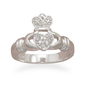 Sterling Silver Rhodium Plated CZ Claddagh Ring / Size 5