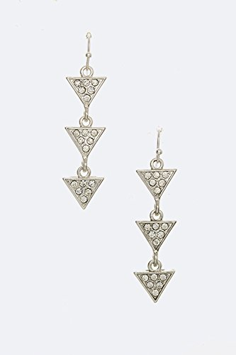Trendy Fashion Jewelry Crystal Triangle Drop Earrings By Fashion Destination| (Silver)
