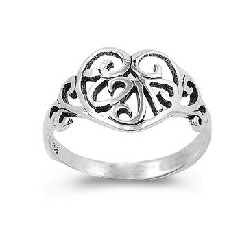 12Mm .925 Sterling Silver Irish Celtic Filigree Trinity Love Knotwork Heart Ring 5-9 (7)