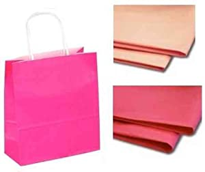 X 10 Bright Pink Gift Bags With Tissue Paper Christmas