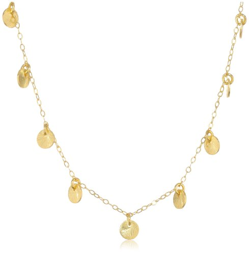 "Gold Over Silver Multi-Disc Chain Necklace, 16""+2"" Extender"