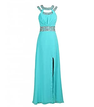 MISSYDRESS Beaded Bridesmaid Evening Party Prom Chiffon Gown Dress15-Turquoise