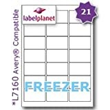 21 Per Page/Sheet, 5 Sheets (105 Sticky FREEZER Labels), Label Planet® White Blank Matt Self-Adhesive A4 Deep Freeze Stickers, For Frozen Food/Products Printable With Laser or Inkjet Printers, UK LP21/63 DF, 63.5 x 38.1 MM, JAM FREE PRINTING