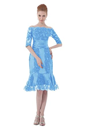 Dresstells Short Blue Lace Evening Prom Dress Cheap US Size 2 Blue