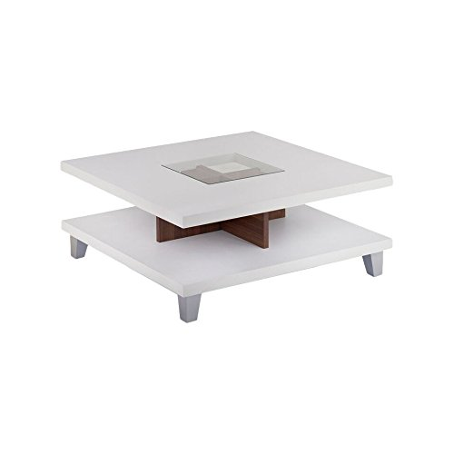 Angel Monty Coffee table | 28x28 Inch White Glossy Top | Square | Glass Center Top | Easy assemble | Compact Design