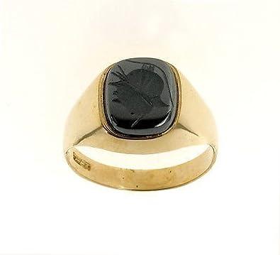 'Men''s 9ct Gold Intaglio Cushion Ring Made In Jewellery Quarter B''ham. RRP £420'