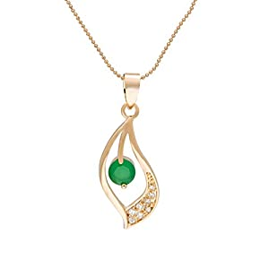 Snowman Lee Golden Collection 18k Rose Gold Plated Zirconia Leaf Curved Moon Pendant Necklace (green)