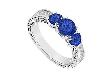 Sapphire Three Stone Ring .925 Sterling Silver 0.50 CT TGW MADE IN USA