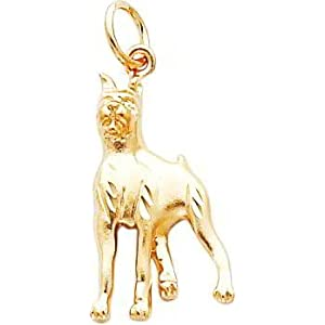 14K Gold Diamond Cut Boxer Dog Charm