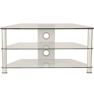 Demagio DM023 Clear Glass 1m Aluminium TV Stand for All Sizes Upto 80kg