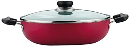 Vinod Cookware Zest Non Stick Induction Friendly Kadhai With Lid (24 Cm)