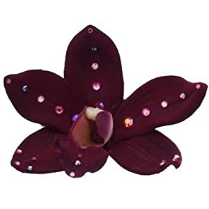 Michelle Roy - Swarovski Crystal Medium Silk Orchid Hair Clip - Burgundy