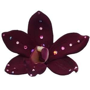 Michelle Roy - Swarovski Crystal Medium Silk Orchid Hair Clip - Burgundy
