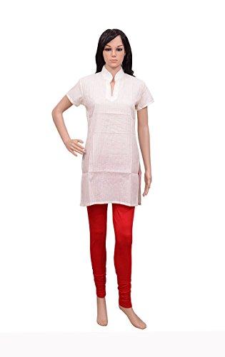 White Kurta Sequins Hand WorkWomen's Wear Pintucks Kurti Short Sleeve Top
