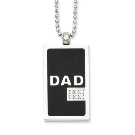 Two-Tone Stainless Steel & CZ Dad Dog Tag Necklace 24 Inch
