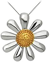 Daisy Pendant, Sterling Silver with Gold plated centre, 20mm diameter, in a presentation box