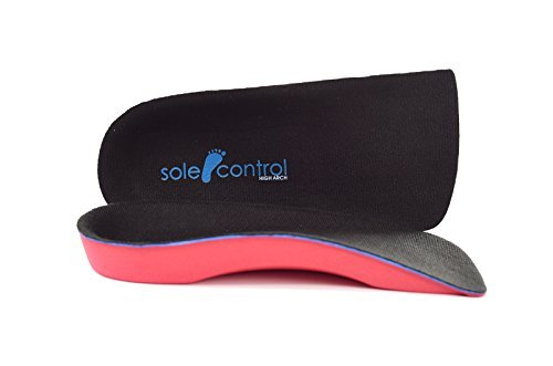 Solette ortopediche Sole Control Red Line a 3/4 con supporto per arco plantare e cuscinetto per tallone ad alta densità, piedi piatti, sindrome pronatoria, fascite plantare (34-37)