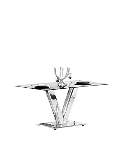 Armen Living Vengo Dining Table Stainless/Glass Top