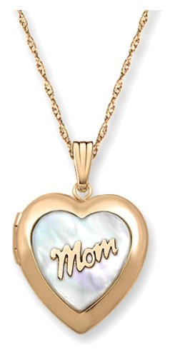 14k Yellow Gold Filled Mother-of-Pearl Mom Locket, 18