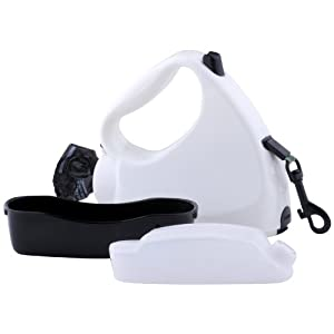Water Walker 4-in-1 Retractable Dog Leash, White