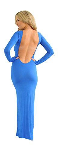 Glamzam Women'S Neve Scoop Back Backless Long Sleeve Maxi Dress Blue M/L