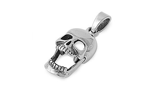 Sterling Silver Skull Pendant Classic Skeleton Unique Charm Pure 925 New 17Mm With 1Mm Box Chain 14 Inch Valentines Day Gift