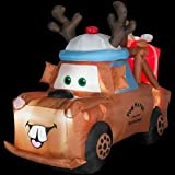 CHRISTMAS DECORATION LAWN YARD INFLATABLE LIGHTED CARS MATER TOW TRUCK WITH PRESENT AND REINDEER HAT 5'