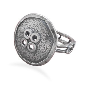 Sterling Silver Oxidized Button Design Ring / Size 7