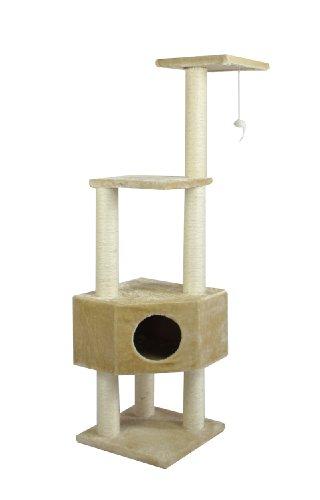BestPet Cat Tree Condo Scratcher, 52-Inch, Beige