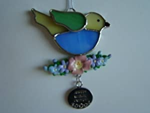 Angels Watch Over Us Summer Bird Stained Glass Suncatcher Ornament (EA2000)