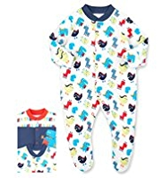 3 Pack Pure Cotton Dinosaur Print Sleepsuits