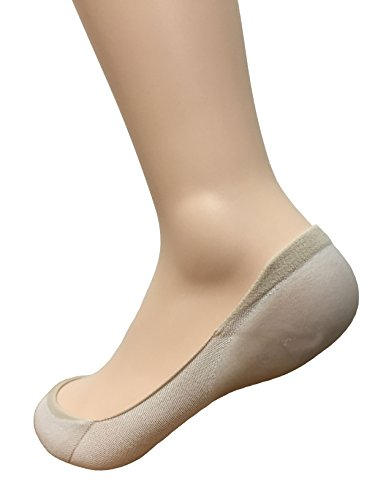 acebone Women's Gel Heel Cotton No Show Socks Nude - Fits Shoe Size: 5.5 - 8