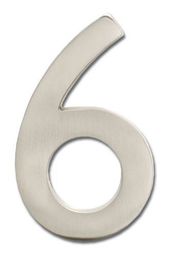 Architectural Mailboxes 3582SN-6 Brass 4-Inch Floating House Number, Satin Nickel 6 Color: silver Size: 6, Model: 3582SN-6