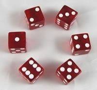 Red Transparent Dice D6 16mm Set of 6