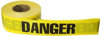 "Brady 91455 1000' Length, 3"" Width, B-912 Polyethylene, Black On Yellow Color Barricade Tape, Legend ""Danger"""