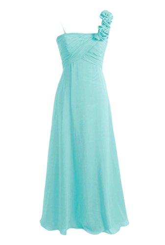 Daisyformals A-Line Long Chiffon Formal Bridesmaid Dress W/Flower Straps(Bm2454L)- Tiffany Blue