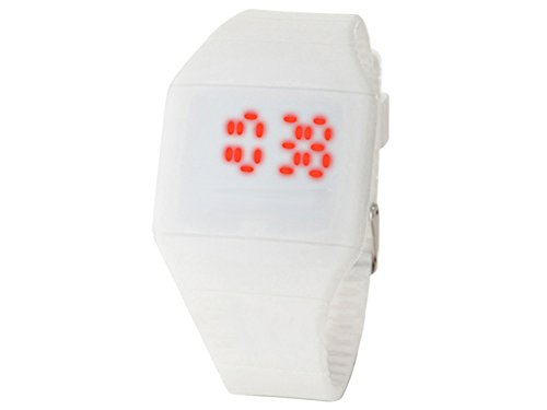 Moonar®Unisex Ultra Thin Cool Red Led Touch Screen Digital Display Rubber Wrist Watch(White)
