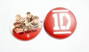 "Set of 2, 1.25"" 1D ONE DIRECTION Music #6 Button Badge Pin Pinback brooch"