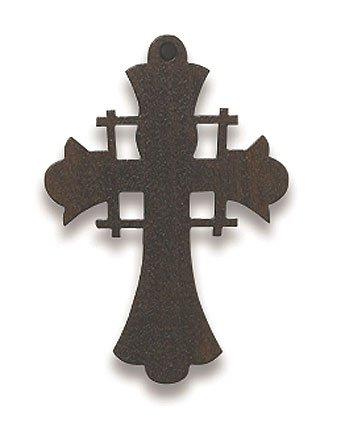 Small Wooden Christian Catholic Jerusalem Cross Crucifix Pendant Medal Charm